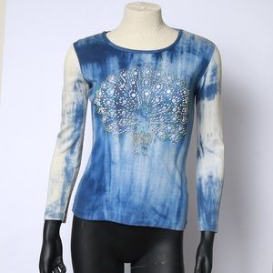 Vintage 70s beaded peacock tie dye long sleeve tee